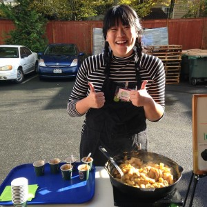 Serving up some freshly made squash Alfredo to the folks at North Helpline food bank