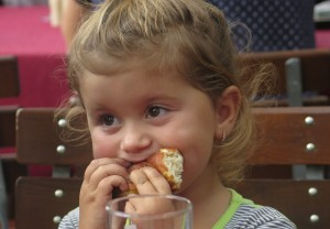 A student having breakfast